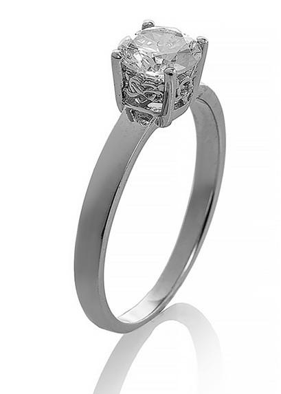"""Серебряное кольцо """"Классика"""" (помолвочное). Вставка: белый фианит, вес: 1,4 гр, размер: 18,5, покрыт"""
