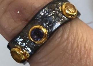 """Серебряное кольцо из коллекции """"Натуральные камни"""".Вставка: цитрин, аметист, вес: 6,9 гр, размер: 17"""