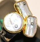 """Серебряное кольцо из коллекции """"Натуральные камни"""". Вставка: циркон, перламутр, вес: 10,6, размер: 1"""