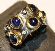 """Серебряное кольцо из коллекции """"Натуральные камни"""". Вставка: циркон, аметист, вес: 15,4 гр, размер:"""