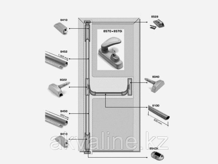 Система антипаника Fapim Panama Bar 8803D на три точки запирания