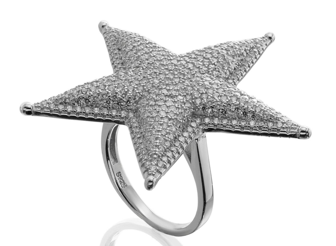 """Серебряное кольцо звезда из коллекции """"Strar"""". Вставка: белые фианиты, вес: 7,6 гр, размер: 18, покр"""