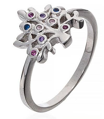 """Серебряное кольцо """"Дерево жизни"""". Вставка: цветные фианиты, вес: 2,3 гр, размер: 18, покрытие родий"""