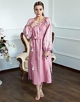 Платье Лілея лён розовый