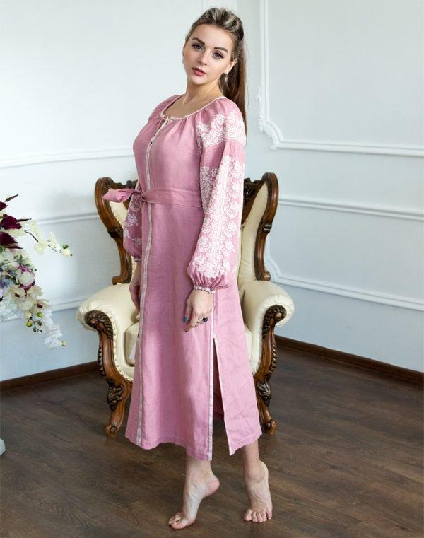 Платье Лілея лён розовый - фото 2