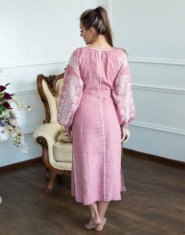 Платье Лілея лён розовый - фото 3