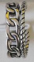 Серебряное кольцо в виде бусинок и цепей. Вес: 4,1 гр, размер: регулируемый