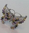 """Серебряное кольцо """"Бабочка"""". Вставка: цветные и белые фианиты, размер: 19, вес: 13 гр, диаметр: 4,5, фото 2"""