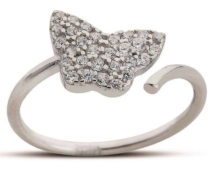 """Серебряное кольцо """"Бабочка"""". Вставка: белый циркон, вес: 1,1 гр, размер: 14.5, покрытие родий"""