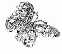 """Серебряное кольцо """"Бабочка"""". Вставка: белые фианиты, вес: 13 гр, размер: 18, диаметр: 4,5 см, покрыт"""