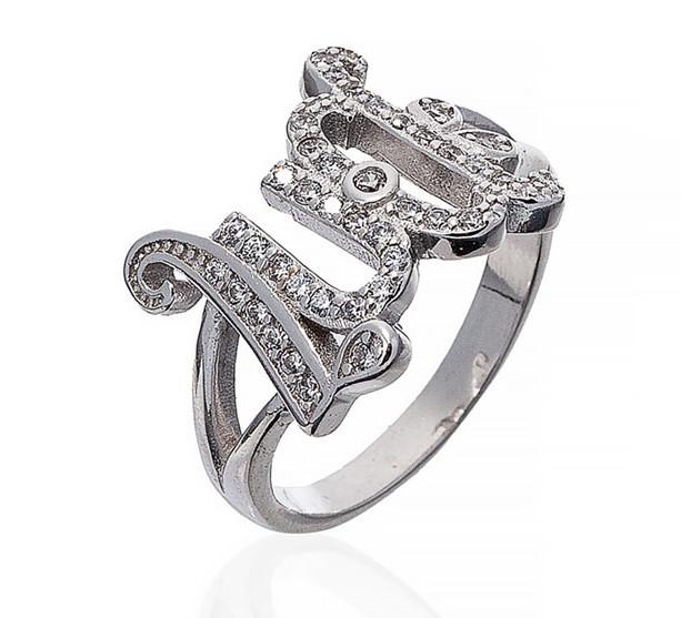 """Серебряное кольцо """"LUCK"""". Вставка: белые фианиты, вес: 3,9 гр, размер: 16,5, покрытие родий"""