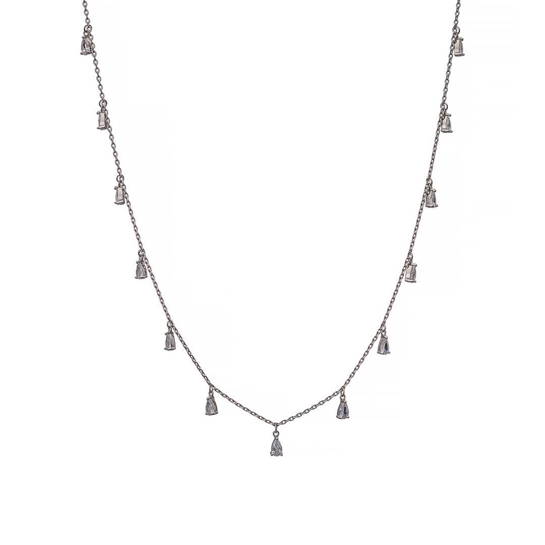 Серебряная подвеска (колье) с фианитами каплевидной формы. Вес: 4,5 гр, плетение: якорное, длина: 40