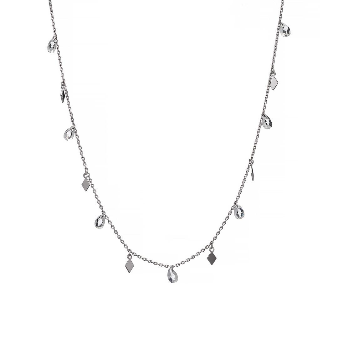 Серебряная подвеска (колье) с ромбиками и кристаллами каплевидной формы. Вес: 3,4 гр плетение: якорн