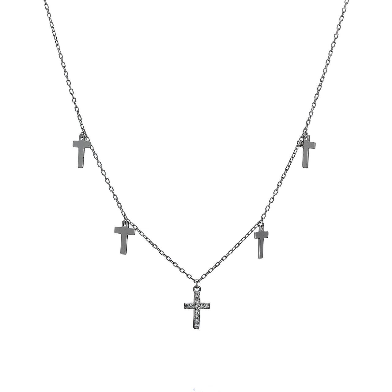Серебряная подвеска (колье) с подвесными крестами. Вставка: белые фианиты, вес: 2,3 гр, длина: 40+5