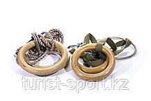 Кольца гимнастические профессиональные изготовлены из материала эбонит в комплекте с подвеской