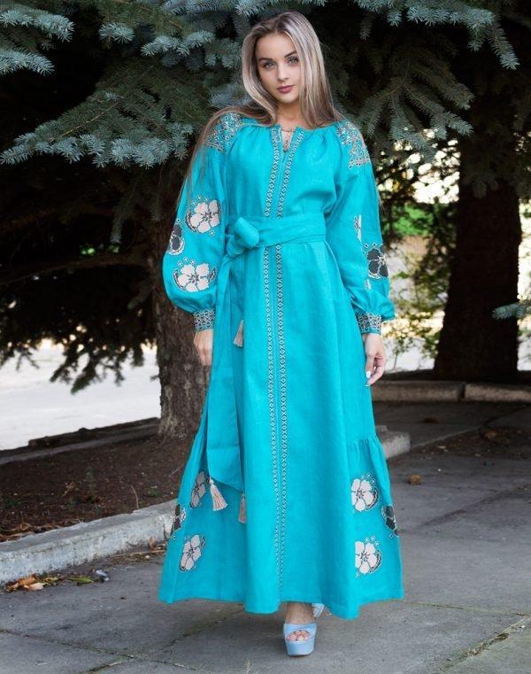 Платье Барвінок лён Д-88-4 длина бирюза - фото 1