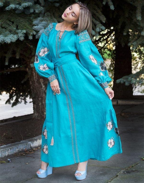 Платье Барвінок лён Д-88-4 длина бирюза - фото 2