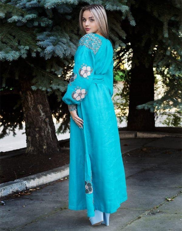 Платье Барвінок лён Д-88-4 длина бирюза - фото 3