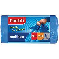 "Мешки для мусора 35л Paclan ""Multitop"" ПВД, 50*64см, 10,5мкм, 30шт., синие, в рулоне, с завязками"