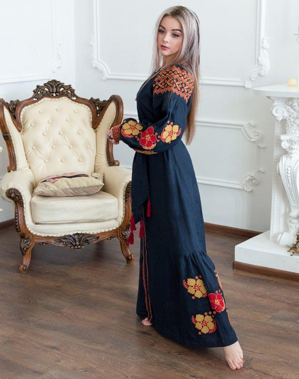 Платье Барвінок лён Д-88-4 длина синий темный - фото 3