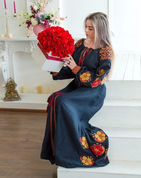 Платье Барвінок лён Д-88-4 длина синий темный - фото 2