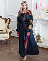 Платье Барвінок лён Д-88-4 длина синий темный