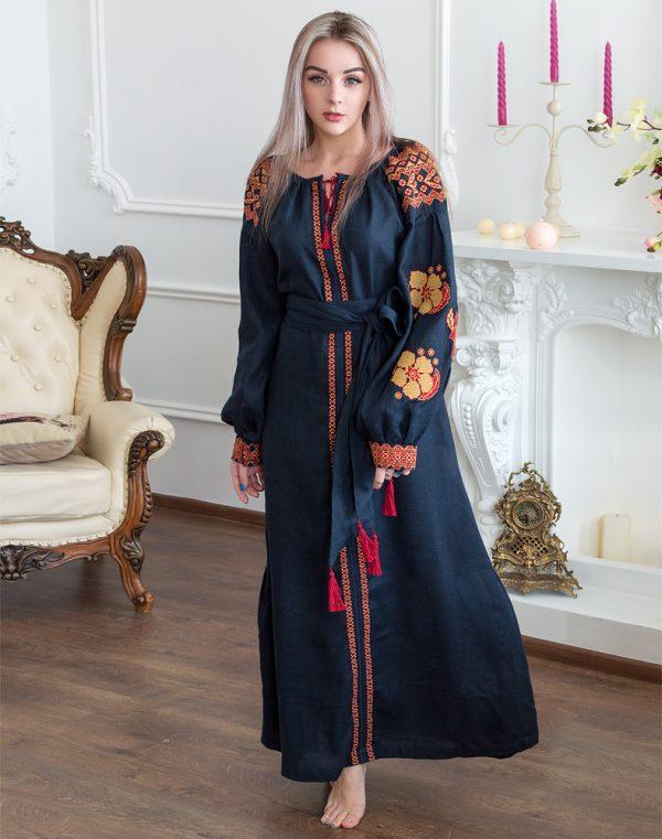 Платье Барвінок лён Д-88-4 длина синий темный - фото 1
