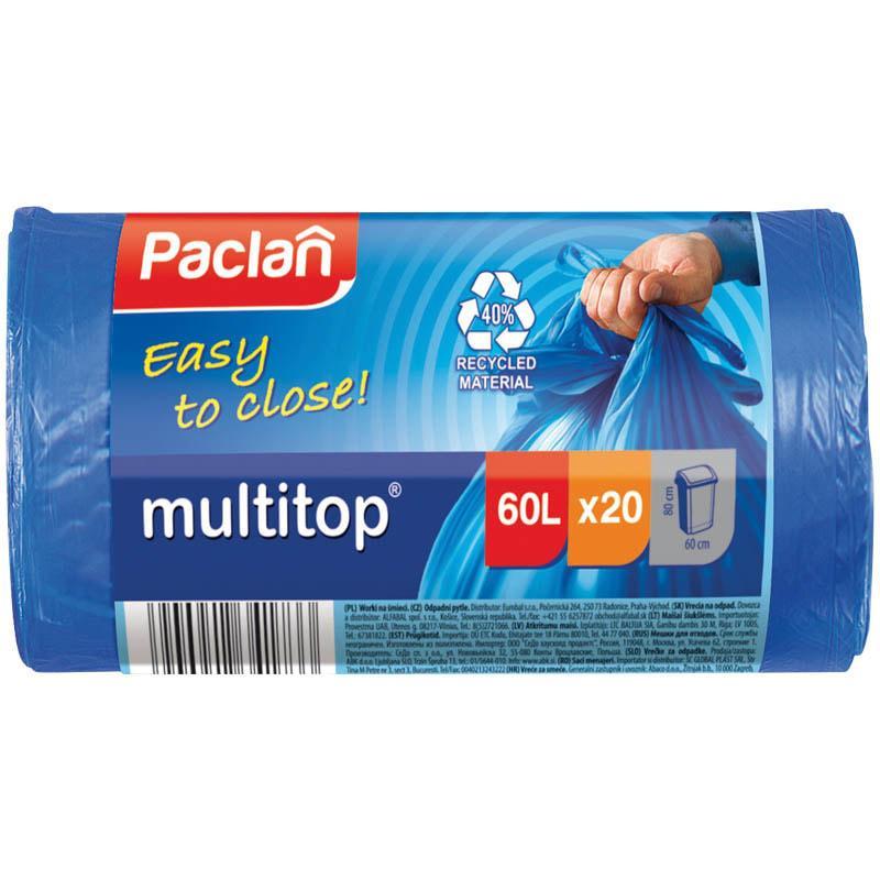 "Мешки для мусора 60л Paclan ""Multitop"" ПВД, 60*72см, 14мкм, 20шт., синие, в рулоне"
