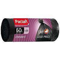 "Мешки для мусора 60л Paclan ""Standard"" ПНД, 60*72см, 7,4 мкм, 20шт., черные, в рулоне"