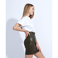 "Юбка женская MINAKU ""Leather look"", длина мини, размер 48, цвет хаки"