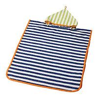 Полотенце с капюшоном СЛАППА темно-синий, зеленый, ИКЕА, IKEA, фото 1