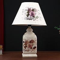 """Лампа настольная керамика """"Букет с пионами"""" прямоугольная Е14 220В 42х25х25 см"""