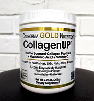 California Gold Nutrition, Морской Коллаген, Витамин С + Гиалуроновая кислота, 206 гр.