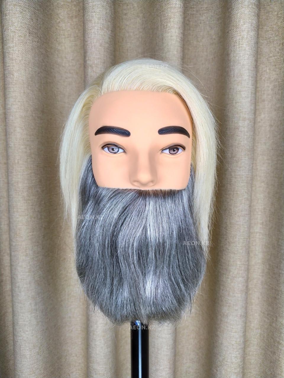 Голова-манекен мужской с бородой блонд волос (100%)  - 40 см
