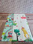 Складной двухсторонний термоковрик для малышей. Ростомер и зверушки. Размер 1,8 м.* 2 м.* 1 см., фото 4