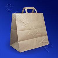 Россия Пакет-сумка бумажная прочная 32х32+18см крафт ручки плоские 80гр/м2