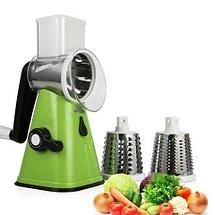 Овощерезка-мультислайсер OBO King ручная терка для овощей и фруктов + 3 ножа-барабана, фото 2