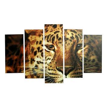 "Модульная картина на подрамнике ""Леопард"", 2 шт. — 25×52, 2 шт. — 25×67, 1 шт. — 25×80 см, 80×125 см"