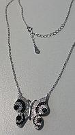 """Серебряная подвеска (колье) """"Бабочка"""" .Вставка: белые и черные фианиты, вес: 5,4 гр длина: 40+3 см,"""