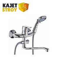 Смеситель KOLAG 1265 одноручный для ванны с плоским изливом 350 мм., дивертор поворотный (12)