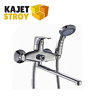 Смеситель KOLAG 1296 одноручный для ванны с плоским изливом 350 мм., дивертор поворотный (12)
