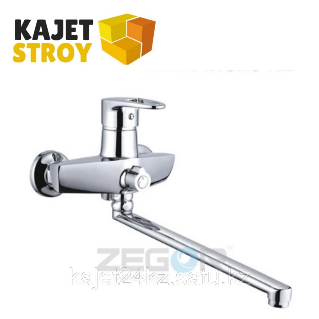Смеситель ZEGOR NKE-A180 одноручный для ванны с плоским изливом 350 мм., дивертор поворотный (
