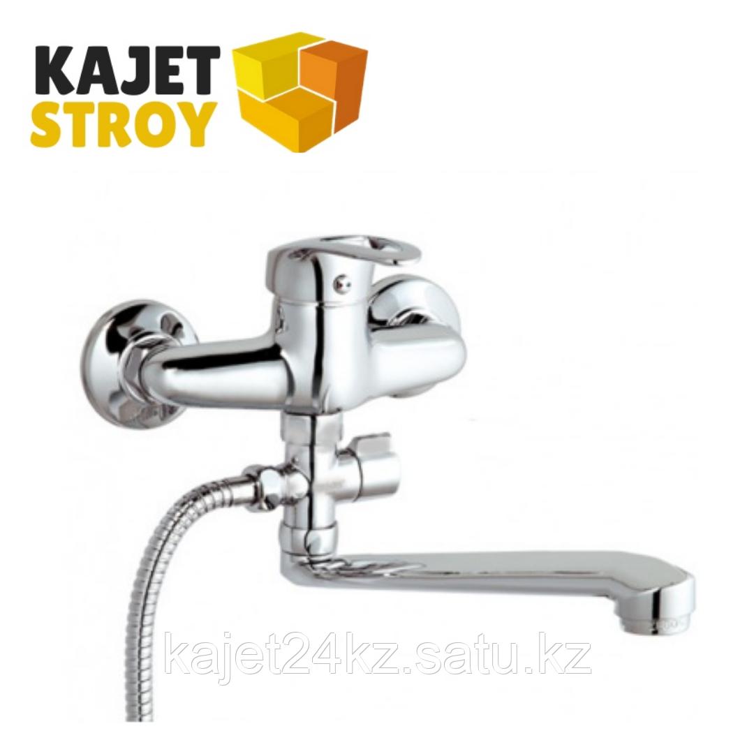 Смеситель ВОДОЛЕЙ 1007 одноручный для ванны с плоским изливом 350 мм., дивертор поворотный (24