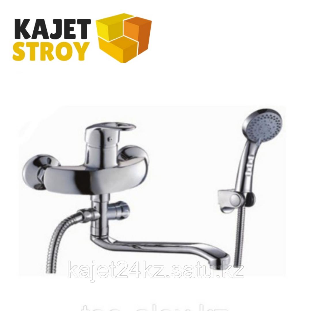 Смеситель ВОДОЛЕЙ 2007 одноручный для ванны с плоским изливом 350 мм., дивертор поворотный (12