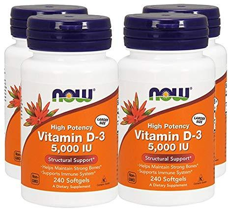 Now Foods, Витамин D-3, 5000 МЕ, 240 мягких таблеток