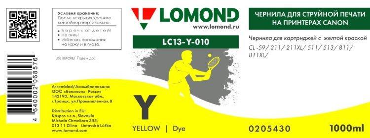 Чернила LOMOND для Canon CL-511/513 (1л.) LC13-010Y Желтый L0205430