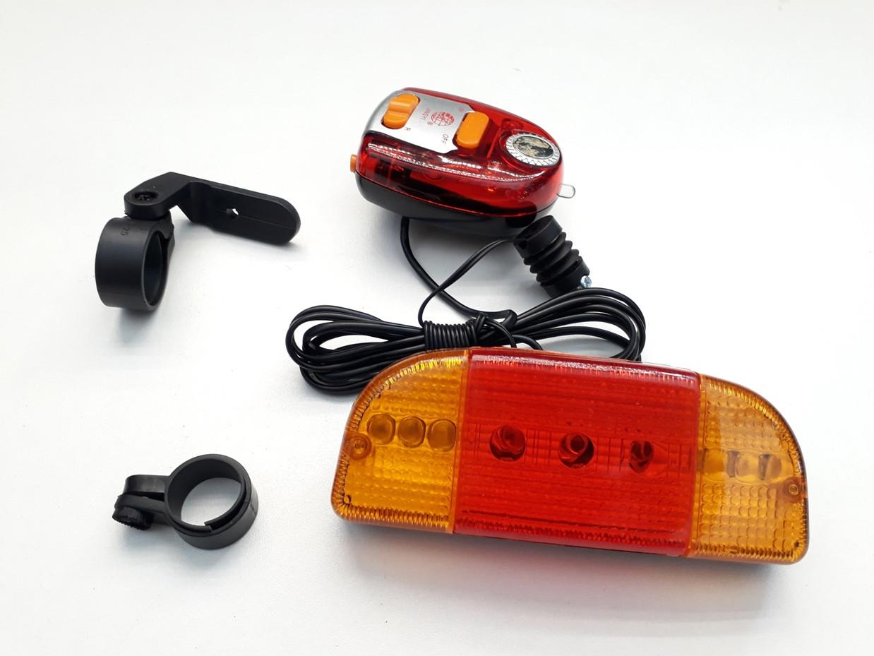 Задний фонарь стоп сигнал с поворотниками на велосипед. Kaspi RED. Рассрочка.