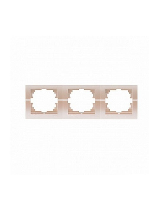 Рамка 3-ая горизонтальная жемчужно-белый металлик Deriy 702-3000-148