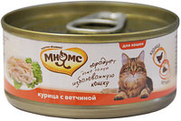 Влажный корм для кошек Мнямс с курицей и ветчиной в желе, фото 1
