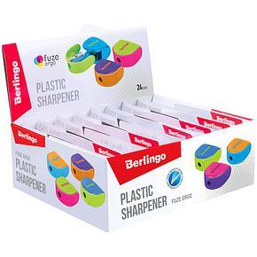"""Точилка пластиковая Berlingo """"Fuze Ergo"""", 1 отверстие, контейнер, ассорти, блистер, европодвес, фото 2"""